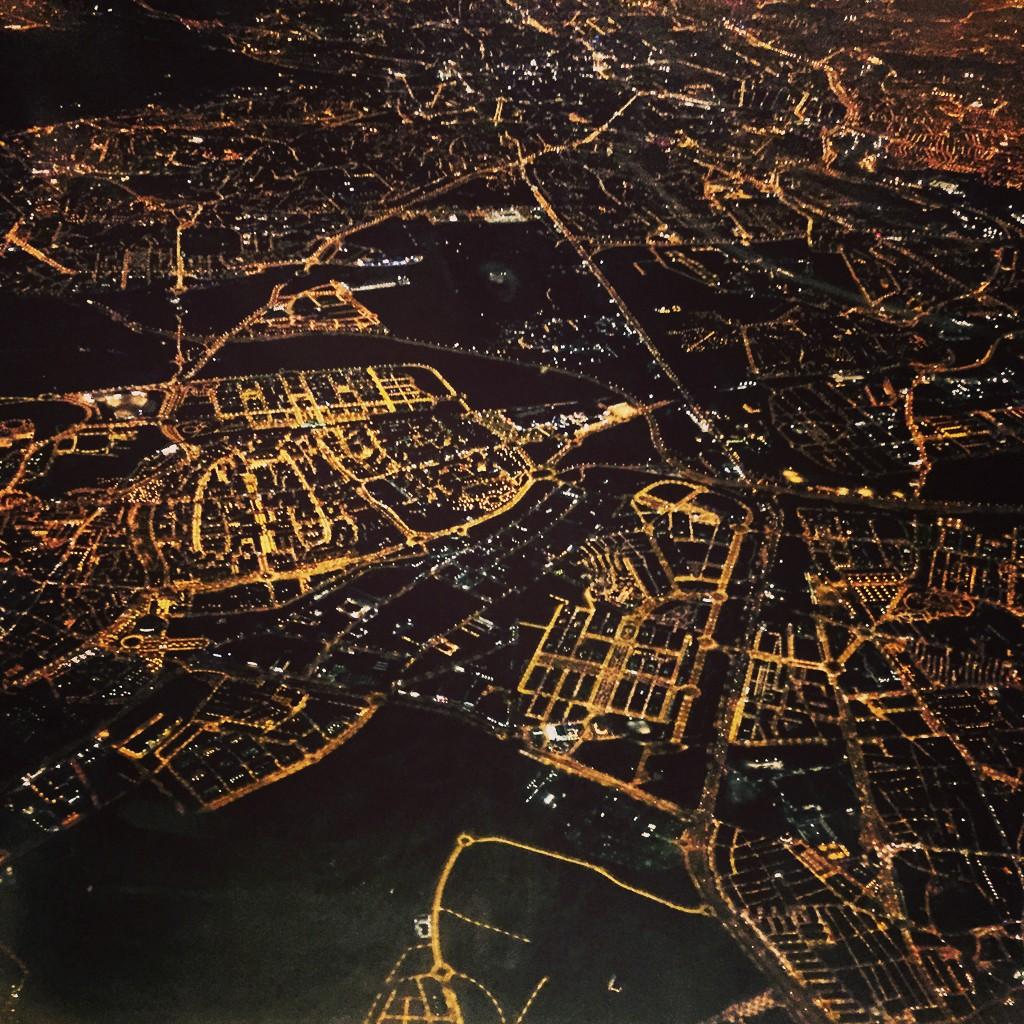 Madrid la nuit, vue du ciel